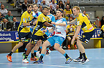 GER - Mannheim, Germany, September 23: Players warm-up before the DKB Handball Bundesliga match between Rhein-Neckar Loewen (yellow) and TVB 1898 Stuttgart (white) on September 23, 2015 at SAP Arena in Mannheim, Germany.  (l-r) Gedeon Guardiola Villaplana #30 of Rhein-Neckar Loewen, Mads Mensah Larsen #22 of Rhein-Neckar Loewen, Kasper Kisum #10 of TVB 1898 Stuttgart,Stefan Kneer #4 of Rhein-Neckar Loewen<br /> <br /> Foto &copy; PIX-Sportfotos *** Foto ist honorarpflichtig! *** Auf Anfrage in hoeherer Qualitaet/Aufloesung. Belegexemplar erbeten. Veroeffentlichung ausschliesslich fuer journalistisch-publizistische Zwecke. For editorial use only.