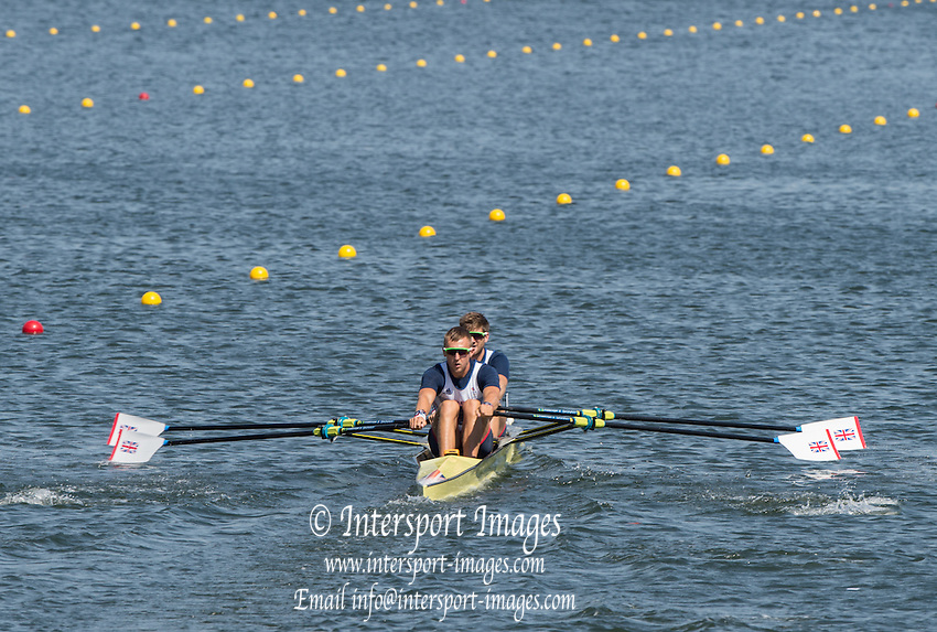 Rio de Janeiro. BRAZIL.   GBR M2X Bow. Jonny WALTON and John COLLINS in their heat  at the 2016 Olympic Rowing Regatta. Lagoa Stadium,<br /> Copacabana,  &ldquo;Olympic Summer Games&rdquo;<br /> Rodrigo de Freitas Lagoon, Lagoa.   Friday  05/08/2016 <br /> <br /> [Mandatory Credit; Peter SPURRIER/Intersport Images][Mandatory Credit; Peter SPURRIER/Intersport Images]
