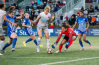 Boston, MA - Sunday May 07, 2017: Abby Dahlkemper and Sabrina D'Angelo during a regular season National Women's Soccer League (NWSL) match between the Boston Breakers and the North Carolina Courage at Jordan Field.