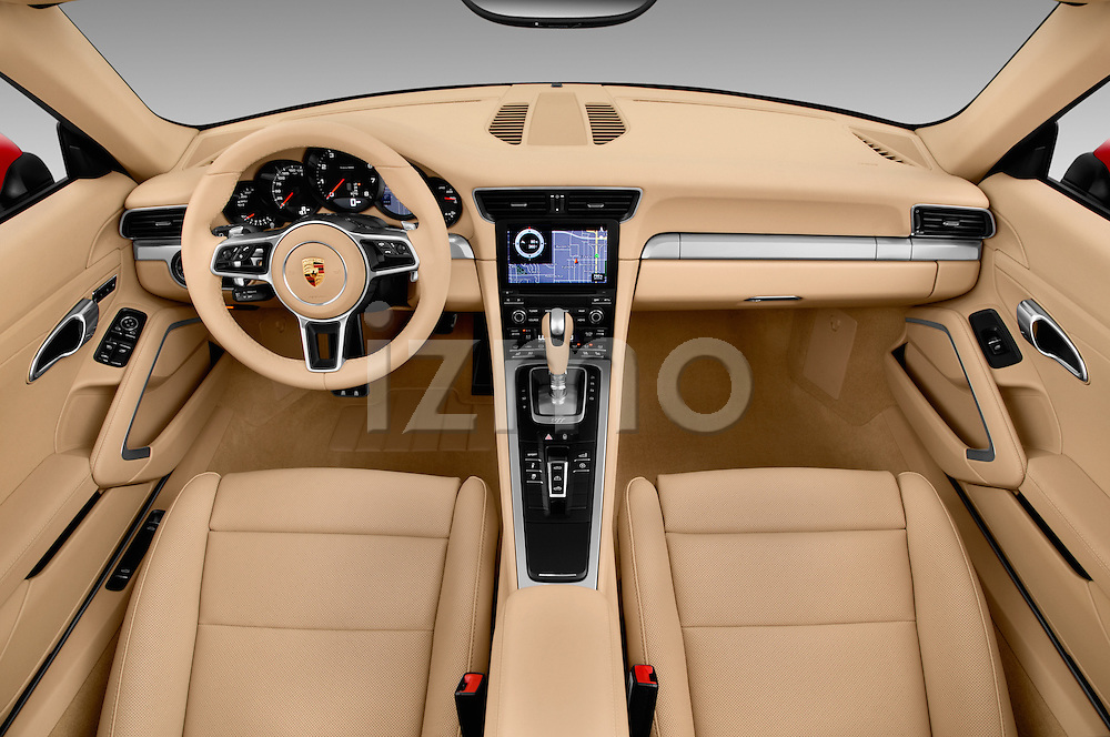 Stock photo of straight dashboard view of 2017 Porsche 911 Carrera 2 Door Convertible Dashboard