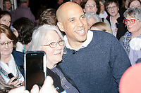 Democratic presidential candidate Senator Cory Booker (D-NJ) greets people after speaking at a house party at the home of State Senator Shannon Chandley and Tom Silva in Amherst, New Hampshire, USA, on Sat., Apr. 6, 2019.