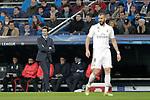 Real Madrid's coach Santiago Solari and Karim Benzema during UEFA Champions League match. December,12,2018. (ALTERPHOTOS/Alconada)