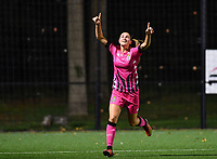 Estelle Dessilly of Sporting Charleroi pictured celebrating after scoring a goal during a female soccer game between Sporting Charleroi and FC Femina White Star Woluwe on the second matchday of the 2020 - 2021 season of Belgian Scooore Women s SuperLeague , friday 4 th of September 2020  in Marcinelle , Belgium . PHOTO SPORTPIX.BE | SPP | DAVID CATRY