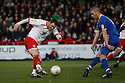 Chris Beardsley of Stevenage's shot is blocked by Ben Chorley of Leyton Orient.- Stevenage v Leyton Orient- npower League 1 - Lamex Stadium, Stevenage - 2nd January 2012  .© Kevin Coleman 2012