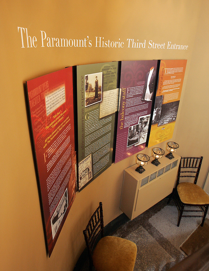 The Paramount Theater announced the commemoration of the side entrance used by blacks during segregation from 1931 to 1964 Tuesday night in Charlottesville, VA. A display featuring pictures and events commemorates the side entrance which is located on 3rd Street. Photo/Andrew Shurtleff