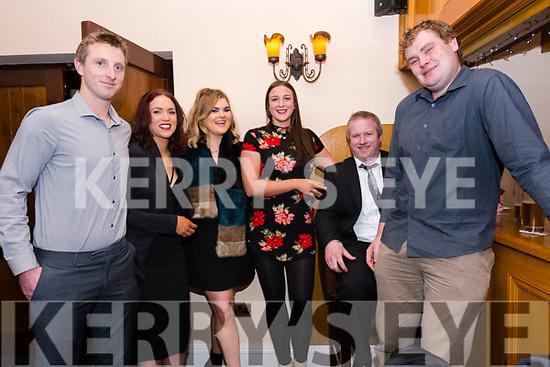 Kieran O'Sullivan, Sinead O'Sullivan, Noranne O'Sullivan, RÛisÌn McKenna, Conor Hanafin and Colm Brosnan enjoying the Lispole GAA function at the Skellig Hotel in Dingle on Thursday night.