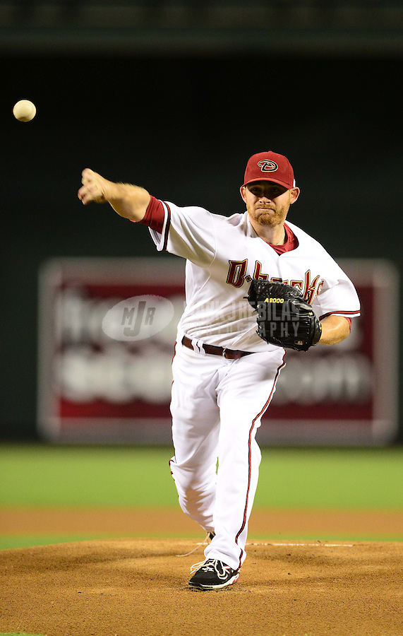 Sept. 11, 2012; Phoenix, AZ, USA: Arizona Diamondbacks pitcher Ian Kennedy throws in the first inning against the Los Angeles Dodgers at Chase Field. Mandatory Credit: Mark J. Rebilas-