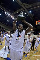 Brandon Bowman celebrates winning the national basketball league final Hawks v Saints at TSB Bank Arena, Wellington, New Zealand on Saturday 5 July 2014. <br /> Photo by Masanori Udagawa. <br /> www.photowellington.photoshelter.com.