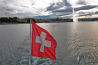 Swiss, Genève, September 14, 2015, Tennis,   Davis Cup, Swiss-Netherlands, Boat trip on lake Geneve<br /> Photo: Tennisimages/Henk Koster