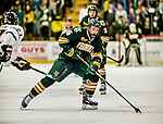 17 October 2015:  University of Vermont Catamount Defenseman Rob Hamilton, a Junior from Calgary, Alberta, in second period action against the University of Nebraska Omaha Mavericks at Gutterson Fieldhouse in Burlington, Vermont. The Catamounts fell to the Mavericks 3-1. Mandatory Credit: Ed Wolfstein Photo *** RAW (NEF) Image File Available ***