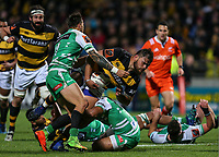 Angus Ta'avao  in action during the Mitre 10 Cup Ranfurly Shield Rugby Match between Taranaki and Manawatu at Yarrow Stadium, New Plymouth, Auckland,  New Zealand. Wednesday 11th October 2017. Photo: Simon Watts / www.bwmedia.co.nz
