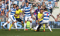 Blackburn Rovers' Jack Rodwell and Queens Park Rangers' Luke Freeman<br /> <br /> Photographer Rob Newell/CameraSport<br /> <br /> The EFL Sky Bet Championship - Queens Park Rangers v Blackburn Rovers - Friday 19th April 2019 - Loftus Road - London<br /> <br /> World Copyright © 2019 CameraSport. All rights reserved. 43 Linden Ave. Countesthorpe. Leicester. England. LE8 5PG - Tel: +44 (0) 116 277 4147 - admin@camerasport.com - www.camerasport.com