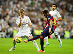 "Neymar JR and Toni Kroos during the Spanish league ""Clasico"" football match Real Madrid CF vs FC Barcelona at the Santiago Bernabeu stadium in Madrid on October 25, 2014.  PHOTOCALL3000 / DP"