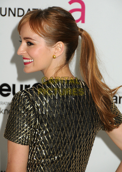 Ahna O'Reilly.20th Annual Elton John Academy Awards Viewing Party held at West Hollywood Park, West Hollywood, California, USA..February 26th, 2012.headshot portrait black gold back behind rear profile ponytail oscars.CAP/ADM/BP.©Byron Purvis/AdMedia/Capital Pictures.