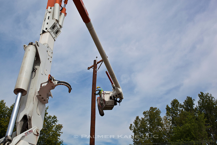 upgraded electrical service being installed along a rural road in Vermont