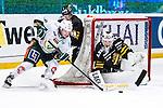 Stockholm 2014-01-18 Ishockey SHL AIK - F&auml;rjestads BK :  <br /> F&auml;rjestads Joakim Nyg&aring;rd f&ouml;rs&ouml;ker g&ouml;ra m&aring;l p&aring; AIK:s m&aring;lvakt Daniel Larsson <br /> (Foto: Kenta J&ouml;nsson) Nyckelord: