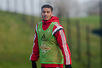 SWANSEA, WALES - JANUARY 28: Kyle Naughton of Swansea City  looks on during training on January 28, 2015 in Swansea, Wales.