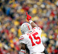 Ohio State Buckeyes running back Ezekiel Elliott (15) celebrates after scoring a  touchdown against Michigan Wolverines in the 2nd quarter at Michigan Stadium in Arbor, Michigan on November 28, 2015.  (Dispatch photo by Kyle Robertson)