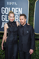 Nominated for BEST PERFORMANCE BY AN ACTOR IN A SUPPORTING ROLE IN A MOTION PICTURE for his role in &quot;Three Billboards Outside Ebbing, Missouri,&quot; actor Sam Rockwell (L) and Leslie Bibb attend the 75th Annual Golden Globes Awards at the Beverly Hilton in Beverly Hills, CA on Sunday, January 7, 2018.<br /> *Editorial Use Only*<br /> CAP/PLF/HFPA<br /> &copy;HFPA/PLF/Capital Pictures