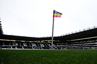 A general view of the Pride Park Stadium home to Derby County with the rainbow lace corner flag prior to the Sky Bet Championship match between Derby City and Swansea City at the Pride Park Stadium in Derby, England, UK. Saturday 01 December 2018