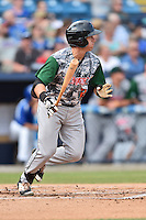 Augusta GreenJackets designated hitter Matt Pare (28) swings at a pitch during a game against the Asheville Tourists at McCormick Field on July 21, 2016 in Asheville, North Carolina. The GreenJackets defeated the Tourists 6-3. (Tony Farlow/Four Seam Images)