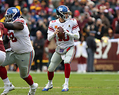 New York Giants quarterback Eli Manning (10) looks for a receiver in the second quarter against the Washington Redskins at FedEx Field in Landover, Maryland on Sunday, December 9, 2018.<br /> Credit: Ron Sachs / CNP<br /> (RESTRICTION: NO New York or New Jersey Newspapers or newspapers within a 75 mile radius of New York City)