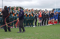 South Africa sing their anthem before the Division A U19 World Championship clash against France at Ravenhill.