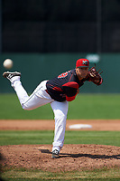 Batavia Muckdogs relief pitcher Vincenzo Aiello (38) delivers a pitch during a game against the Tri-City ValleyCats on July 16, 2017 at Dwyer Stadium in Batavia, New York.  Tri-City defeated Batavia 13-8.  (Mike Janes/Four Seam Images)