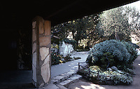 Lloyd Wright: Wayfarer's Chapel--Patio, Near Office. Palos Verdes.  Photo '82.