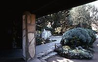 Lloyd Wright: Wayfarer's Chapel--Patio, Near Office. Palos Verdes.  Photo '82.