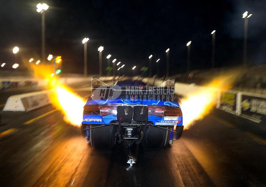 Jan 14, 2015; Jupiter, FL, USA; NHRA funny car driver Jack Beckman during preseason testing at Palm Beach International Raceway. Mandatory Credit: Mark J. Rebilas-USA TODAY Sports