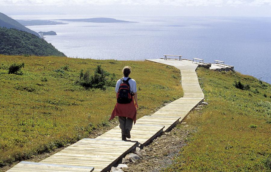 Hiker on Skyline Trail, Cape Breton National Park, Nova Scotia, Canada