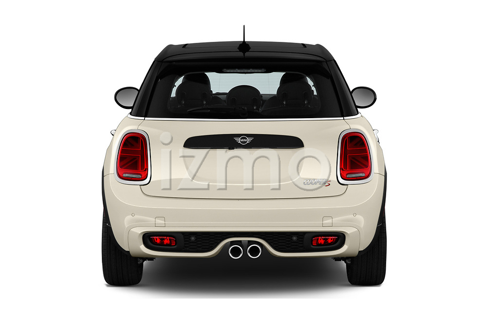 Straight rear view of 2019 MINI Hardtop-4-Door Cooper-S 5 Door Hatchback Rear View  stock images