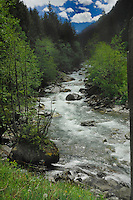 Fast flowing river in the mountains. Stuibenfall, ötztal, Tyrol, Tirol, Alps Austria,