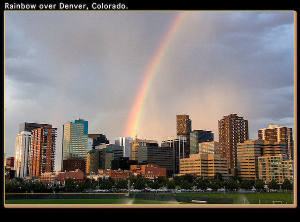 I location scout to find great vantage points, then return when conditions warrant.<br /> Rainbow over Denver seen from Auraria Campus, Colorado. .  John offers private photo tours in Denver, Boulder and throughout Colorado. Year-round Colorado photo tours.