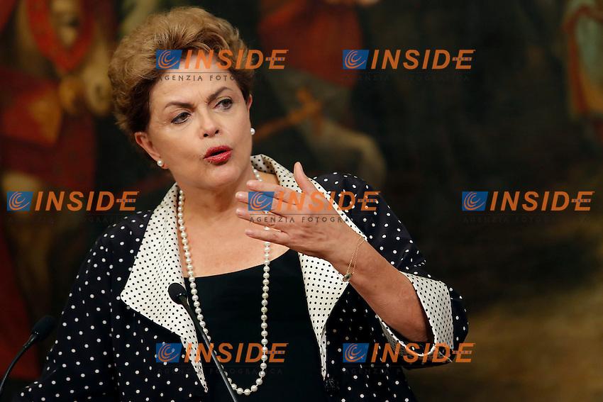 Dilma Rousseff<br /> Roma 10-07-2015 Incontro tra Il Presidente del Consiglio italiano ed il Presidente della Repubblica federale del Brasile.<br /> Italian premier meets the President of the Republic of Brasil<br /> Italian premier meets the premier of Irish republic<br /> Photo Samantha Zucchi Insidefoto