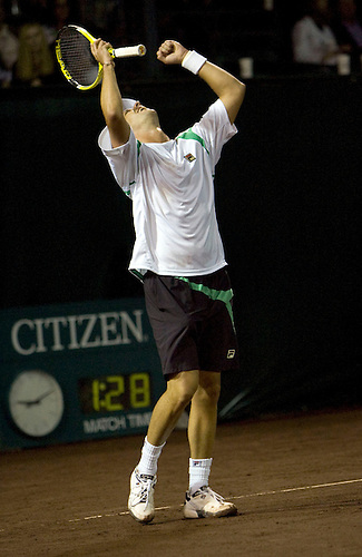 Horacio Zeballos of Argentina celebrates after defeating Fernando Gonzalez of Chile 6-4, 6-4 in a quarterfinal tennis match at the U.S. Men's Clay Court Championships at River Oaks Country Club in Houston, Friday, April 9, 2010. (AP Photo/Steve Campbell)    .