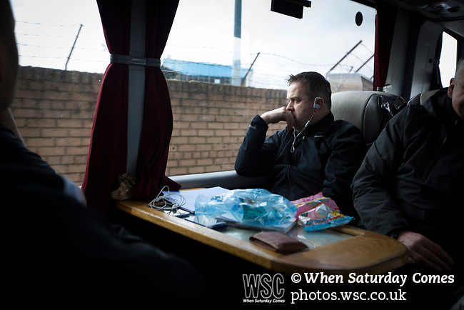 Forfar Athletic 1 Edinburgh City 2, 02/02/2017. Station Park, SPFL League 2. Visiting manager Gary Jardine looks pensive as the team bus arrives at Station Park, Forfar before the SPFL League 2 fixture between Forfar Athletic and Edinburgh City. It was the club's sixth and final meeting of City's inaugural season since promotion from the Lowland League the previous season. City came from behind to win this match 2-1, watched by a crowd of 446. Photo by Colin McPherson.