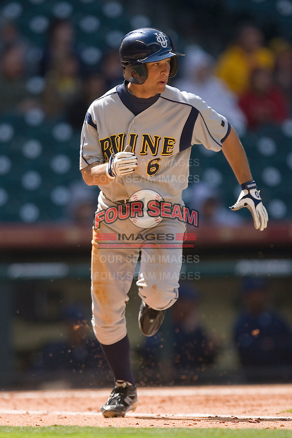 Ben Orloff #6 of the UC-Irvine Anteaters hustles down the first base line versus the Houston Cougars in the 2009 Houston College Classic at Minute Maid Park February 28, 2009 in Houston, TX.  The Anteaters defeated the Cougars 13-7. (Photo by Brian Westerholt / Four Seam Images)