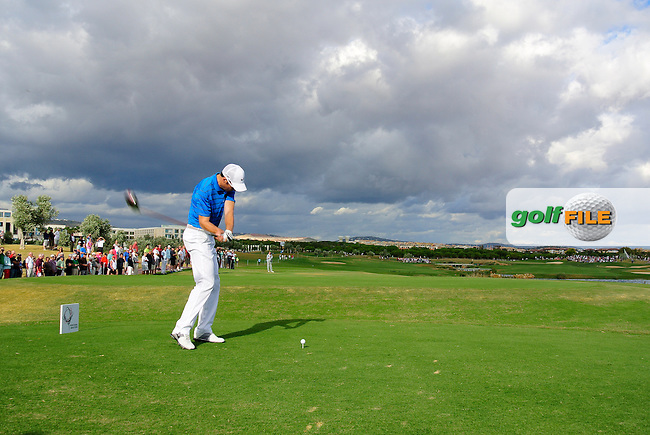 Ross Fisher (ENG) tees off the 14th tee during Sunday's Final Round of the Portugal Masters at the Oceanico Victoria Golf Course, Vilamoura, Portugal 14th October 2012 (Photo Eoin Clarke/www.golffile.ie)