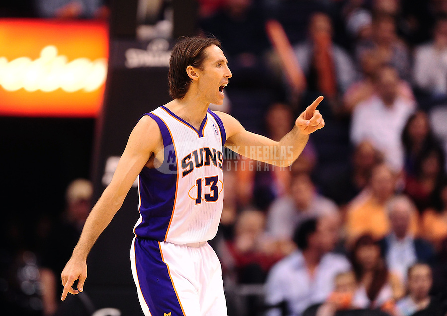 Jan. 28, 2012; Phoenix, AZ, USA; Phoenix Suns guard Steve Nash yells during game against the Memphis Grizzlies at the US Airways Center. The Suns defeated the Grizzlies 86-84. Mandatory Credit: Mark J. Rebilas-USA TODAY Sports
