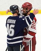 John Henrion (UNH - 16), David Valek (Harvard - 22) - The Harvard University Crimson defeated the University of New Hampshire Wildcats 7-6 on Tuesday, November 22, 2011, at Bright Hockey Center in Cambridge, Massachusetts.