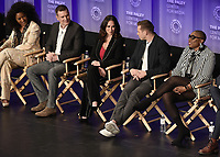"HOLLYWOOD, CA - MARCH 17:  Angela Bassett, Peter Krause, Jennifer Love Hewitt, Oliver Stack and Aisha Hinds at PaleyFest 2019 - Fox's ""9-1-1"" panel at the Dolby Theatre on March 17, 2019 in Hollywood, California. (Photo by Scott Kirkland/Fox/PictureGroup)"