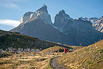 Hiker and Towering Los Cuernos Mountains of Torres del Paine National Park in Patagonia Chile