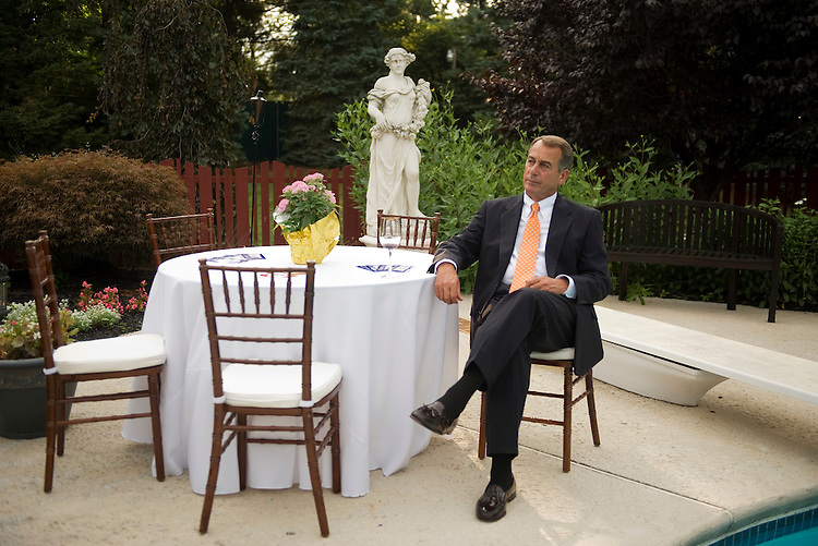 UNITED STATES - AUGUST 13:  House Minority Leader John Boehner, R-Ohio, waits to speak at a fundraiser for Rep. Charlie Dent, R-Pa., in Easton, Pa.  Dent is being challenged for the PA-15 seat by democrat John Callahan. (Photo By Tom Williams/Roll Call via Getty Images)