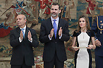Spain Culture Minister Jose Ignacio Wert (L) and Spanish Royals King Felipe VI of Spain and Queen Letizia of Spain during the National Culture Awards ceremony at El Pardo Palace in Madrid, Spain. February 16, 2015. (ALTERPHOTOS/Victor Blanco)