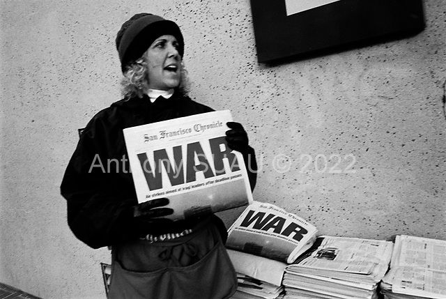 San Francisco, California.USA.March 20, 2003..Anti-Iraqi war protesters take to the streets by the thousands to oppose the US war on Iraq which began the evening before...1,000 protesters were arrested in San Francisco on this day.