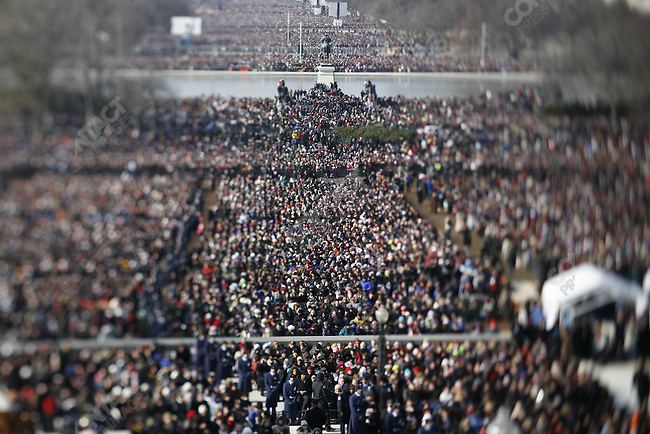 Inauguration of Barack Obama as the 44th President of the United States of America, crowds gather in the National Mall, morning of the swearing in. Washington, D.C., January 20, 2009