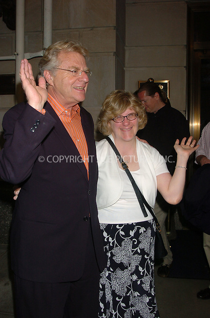 WWW.ACEPIXS.COM . . . . .  ....June 28, 2006, New York City. ....Jerry Springer and his daughter Katie pose for the photographers as they leave the Ritz Carlton. ....Please byline: AJ Sokalner - ACEPIXS.COM..... *** ***..Ace Pictures, Inc:  ..(212) 243-8787 or (646) 769 0430..e-mail: info@acepixs.com..web: http://www.acepixs.com