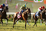 DEL MAR,CA-SEPTEMBER 02: Ride a Comet #8,ridden by Drayden Van Dyke, wins the Del Mar Derby at Del Mar Race Track on September 2,2018 in Del Mar,California (Photo by Kaz Ishida/Eclipse Sportswire/Getty Images)